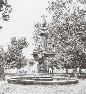 West Third Street Historic District (Davenport, Iowa) - The fountain that stood in Washington Square with the Lady of Germania statue.