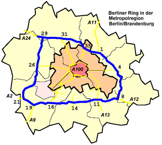 Bundesautobahn 10 - Image: Lage Berliner Ring Metropolregion Berlin