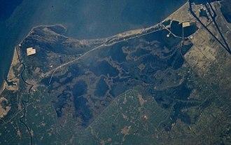 Lake Manzala - Image: Lake Manzala, image from space shuttle crop