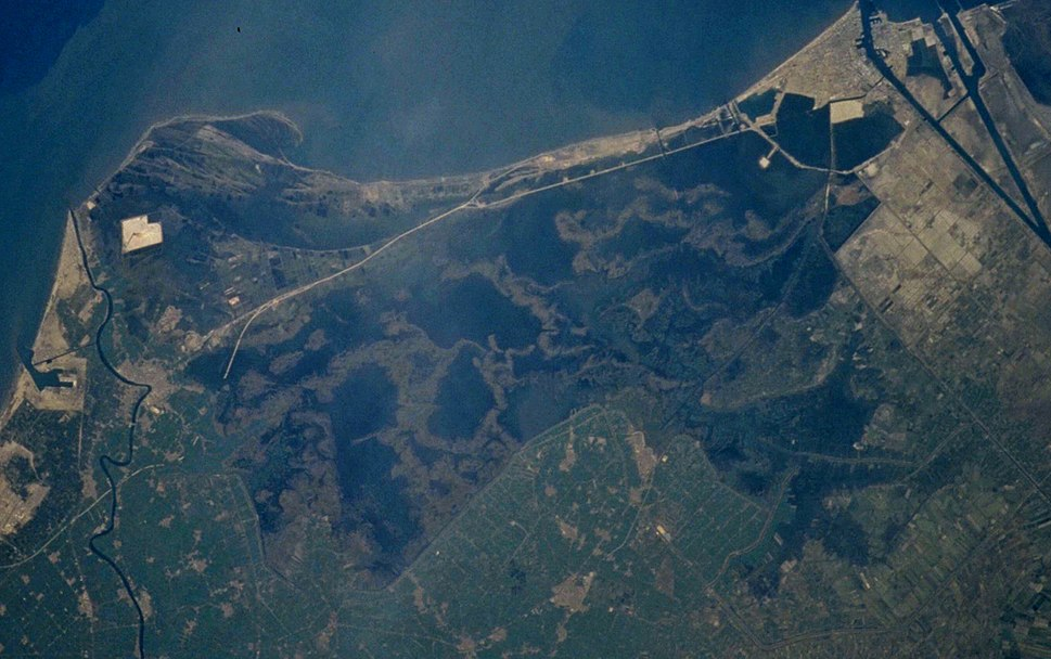 Lake Manzala, image from space shuttle - crop