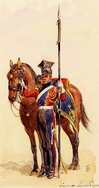 2e régiment de chevau-légers lanciers de la Garde Impériale - Image: Lancier rouge en tenue de route, 1811