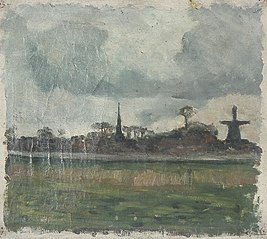 Landscape with Windmill and Church