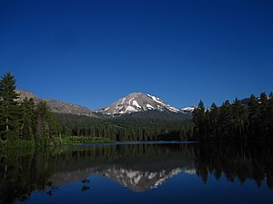 Lassen Volcanic National Park - Lassen Peak reflected in Manzanita Lake