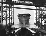 Launch of USS Ranger (CV-4) at Newport News Shipbuilding on 25 February 1933 (NH 75709).jpg