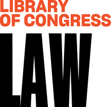 A stylized font in orange and black with a white background represents the Law Library of Congress.