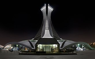 Olympic Stadium (Montreal) - Back view at night