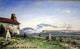 The Balbins Cemetery oil painting in 1888 by Johan Barthold Jongkind