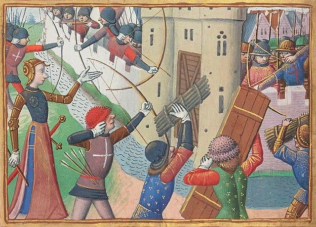 Жанна д'Арк при осаде Парижа (1429). Миниатюра из «Вигилий на смерть короля Карла VII». Около 1483 г.