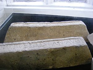English: Lead ingots from Roman Britain on dis...