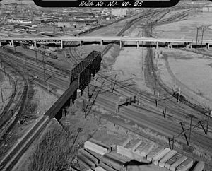 Lehigh Line Connection -  The pre-1997 connection is at bottom left of photo looking east; the new connection was built just to the north.