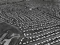 Aerial view of Levittown, Pennsylvania circa 1959