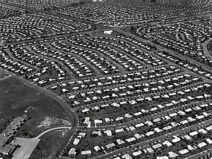 Aerial view of Levittown, Pennsylvania, circa 1959