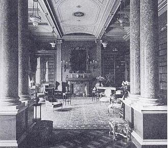 Dorchester House - The Library in Dorchester House circa 1905
