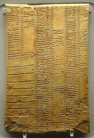 Synonym - Synonym list in cuneiform on a clay tablet, Neo-Assyrian period