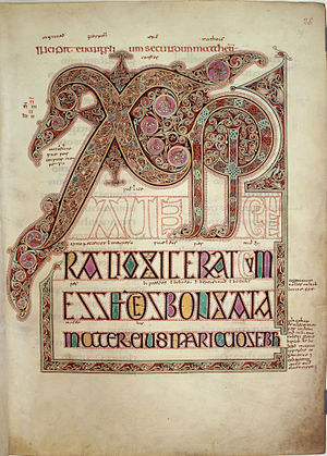 Anglo-Saxons - Page with Chi Rho monogram from the Gospel of Matthew in the Lindisfarne Gospels c. 700, possibly created by Eadfrith of Lindisfarne in memory of Cuthbert