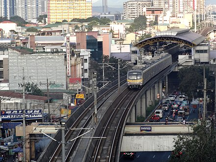 Pureza Station of Line 2 in Santa Mesa Line 2 Train near Pureza Station (Santa Mesa, Manila)(2018-02-22).jpg