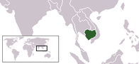 A map showing the location of Cambodia