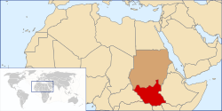 Location of Southern Sudan