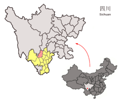 Location of Mianning County (red) within Liangshan Prefecture (yellow) and Sichuan