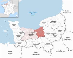 Arrondissement of Lisieux - Image: Locator map of Arrondissement Lisieux 2017