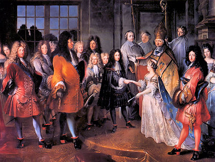 An arranged marriage between Louis XIV of France and Maria Theresa of Spain. Lodewijk XIV-Marriage.jpg