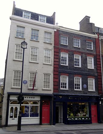 The white building (left) is 23 Brook Street; the building on the right is the Handel House Museum. London 003 Hendrix and Handel houses.jpg
