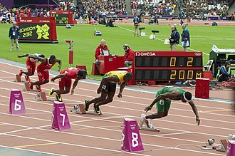 200 metres - Athletes leaving starting blocks for a 200 metres heat at the 2012 Olympic Games