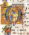 Lorenzo Monaco, Capolettera D, 1420-1423, Graduale H, Corale H 74, f. 95v Museo del Bargello, Firenze.jpg