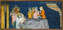 Miniature représentant Louis IX, alité et mourant, entouré de personnages diversement affligés.