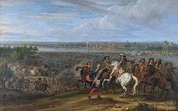 Louis XIV crosses the Rhine at Lobith - Lodewijk XIV trekt bij het Tolhuis bij Lobith de Rijn over, 12 juni 1672 (Adam Frans van der Meulen).jpg