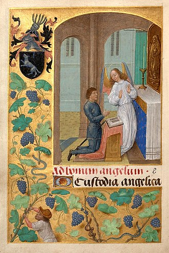 "Sir John Donne - Donne depicted with his coat of arms in the ""Louthe Hours"" (alias ""Donne Hours""), painted by Simon Marmion c.1480, Collection of University of Louvain-la-Neuve, MS A2, f.100v"