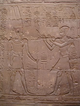Egypt–Greece relations - Alexander the Great as Pharaoh of Egypt praying to the Egyptian deity Amun