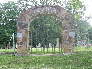 Perry Township, Lawrence County, Indiana - Gate at the Lowder Cemetery, northwest of Springville