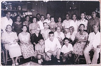 Ludovico Arroyo Bañas - Ludovico Arroyo Bañas with the family of his wife Carmen Jalandoni Jover during a clan gathering sometime in 1950s. Ludovico is behind his wife Carmen (standing, fourth from the left), while Iloilo City Mayor Dominador Jalandoni Jover (also standing) could be found fourth from the right.