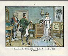 Luise und Napoleon in Tilsit, Illustration von 1896 (Quelle: Wikimedia)