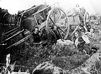 Métis in Canada - Métis drivers with Red River carts, c. 1860