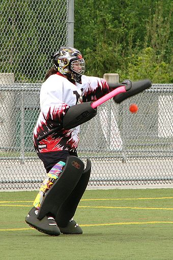 A goalkeeper makes a glove save. Equipment worn here is typical gear for a field hockey goalkeeper. M060519 vit vipers-dragons 0071.JPG