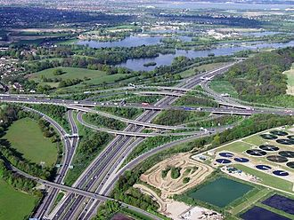 Thorpe, Surrey - Image: M25 junction 12 intersection with M3 geograph.org.uk 291771