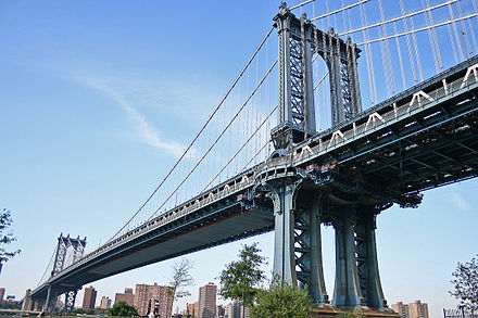 The Manhattan Bridge, connecting Manhattan and Brooklyn in New York City, opened in 1909 and is considered to be the forerunner of modern suspension bridges; its design served as the model for many of the long-span suspension bridges around the world. Manhattan Bridge 2007.jpg