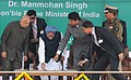 Manmohan Singh laying the foundation stone of Central Armed Police Forces Institute of Medical Sciences (CAPFIMS), in New Delhi. The Union Home Minister, Shri Sushilkumar Shinde and the Minister of State for Home (1).jpg