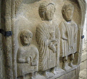 English: Roman bas-relief in sandstone of a fa...