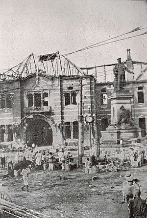 Manseibashi Station - The front of the totally destroyed station after the 1923 Great Kantō earthquake.