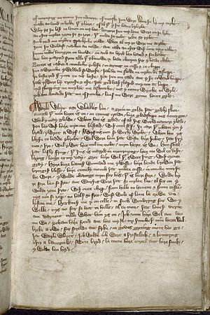 Harley Lyrics - Folio 67r of the Harley MS, which includes the second part of Mosti ryden by Rybbesdale, and the start of A wayle whyt as whalles bon.