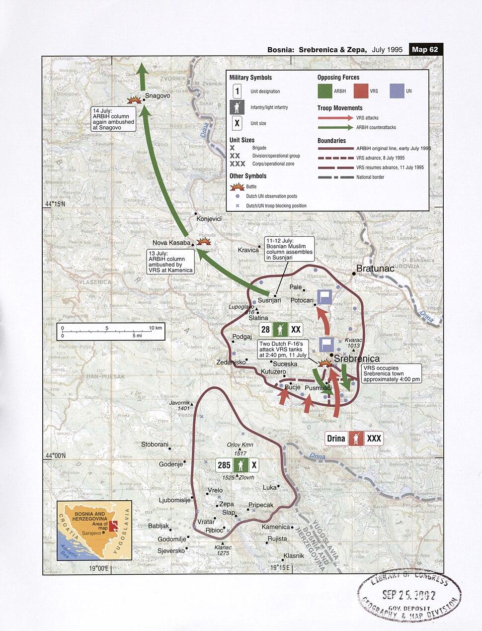 Map 61 - Bosnia - Srebrenica & Zepa, July 1995
