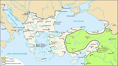 Carte de l'Empire byzantin en 1076.