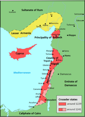 Barons' Crusade - Map depicting gains made by the crusade Red: Crusader states in 1239; Pink: territory acquired in 1239–41