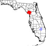 A state map highlighting Levy County in the corner part of the state. It is large in size.