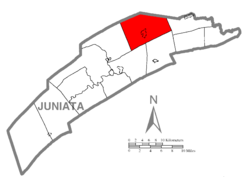 Map of Juniata County, Pennsylvania highlighting Fayette Township