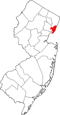 Map of New Jersey highlighting Hudson County