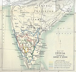 Mysore is shown in west-central peninsular India with the Madras Presidency bordering it on the east, west, and south, with the Arabian Sea, Indian Ocean, and the Bay of Bengal surrounding the peninsula, and with Sri Lanka in the vicinity to the south-east